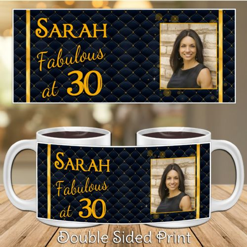 Personalised Black & Gold Diamond Quilt Happy Birthday PHOTO Mug N45 - ANY TEXT